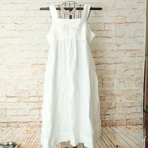 Style&co 100% Linen Embroidered White Dress 14